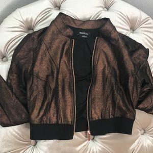 Bebe cropped zip jacket metallic copper